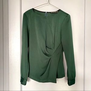 Zara Emerald Green Full Sleeve Blouse Top